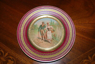 Royal Vienna Beehive Burgundy And Gold Jeweled Romantic Cabinet Wall Plate # 5
