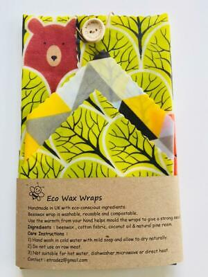 Lunch Pack-Set of 3 Reusable Beeswax Food/Sandwich  Wrap