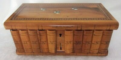 Antique Hand Made Olive Wood Jewelry Chest Miniature Trunk Blue Birds Wood Box *