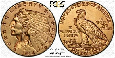 1914-D $2.50 Gold Indian Head Quarter Eagle Coin PCGS XF45 Gold Label Secure