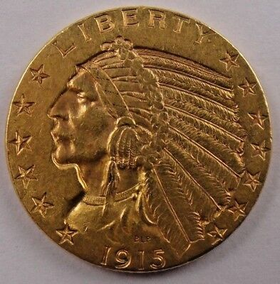 1915 $5 Gold Indian Head Half Eagle Us Mint Coin