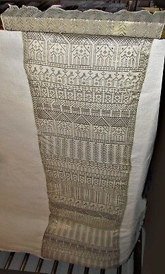 antique deco assuit silver net shawl scarf figural designs people camels trees +