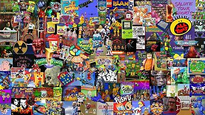 TV/GAMES FROM THE 90'S Wrapping Paper, A1/A2/A3, Music 1990, James Bond Pokemon