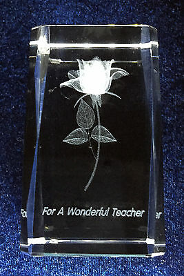 Crystal with 3D Image of a Rose for teacher - Ideal Gift