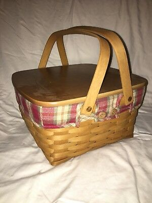 Longaberger Picnic Basket with Lid, Stand and Protector