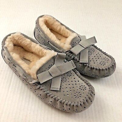 2a157e6abb7 UGG DAKOTA SUNSHINE Perf Seal Grey Suede Fur Slippers Moccasins Size US 9  Womens