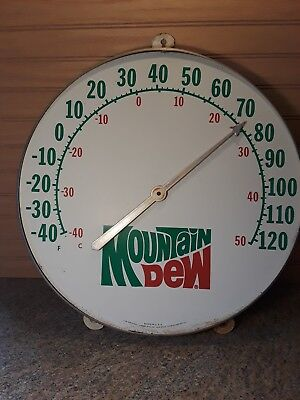 1970s Vintage MOUNTAIN DEW 18in.Jumbo Dial Ohio Thermometer Sign,