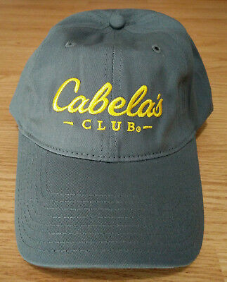 Cabelas Club Ball Cap Embroidered Logo Dad Hat Adjustable Strapback Outdoor  Grey 2e6d73ac02fe