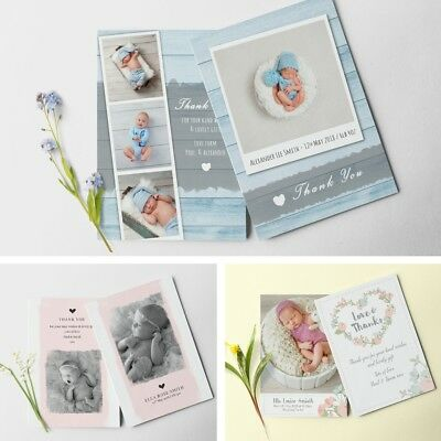 New Baby Thank You Cards, Printed Double Sided, baby boy / girl thank you cards
