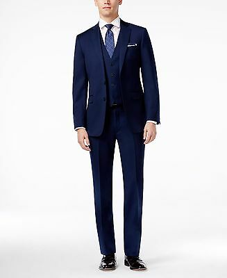 $895 CALVIN KLEIN Mens Extreme Slim Fit Suit Blue 3 PIECE JACKET PANTS VEST 42R