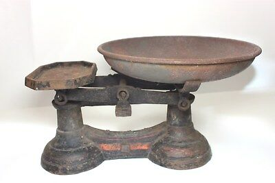 """Antique american cast iron balance scale 1890s  Weighing scale """" To weigh 14 lb"""""""