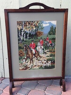Antique Vintage Needlepoint Fox Hunt Tapastry Signed Solid Wood Fire Screen
