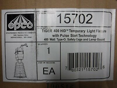 New EPCO TIGER 400 HID Temp Work Light w/ Pulse Start ~ 400W Type-O Safety Cage