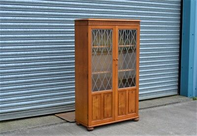 Vintage Bookcase with Leaded Glass Doors Elm.