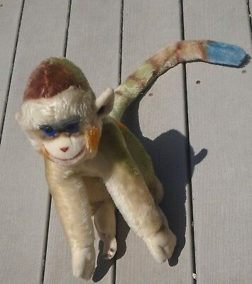Vintage Steiff Mohair Mungo the Monkey Large Stuffed Animal-Multicolor Face+Tail