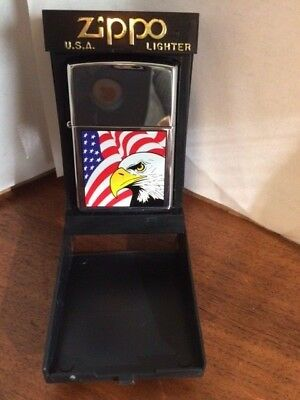 Zippo New in box Eagle and Flag Lighter 2001 Seal intact