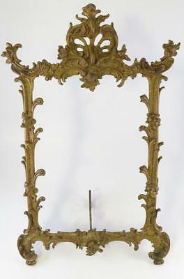Victorian Period Large Cast Iron Standing Mirror Or Picture Frame