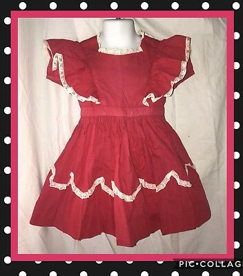 Vtg Girls Frilly Red White Full Skirt Dress Ruffle Pinafore