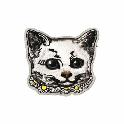 White Daisies Cat Head (Iron On) Embroidery Applique Patch Sew Iron Badge