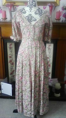 Fabulous Vintage Laura Ashley Lilac Summer Blossom Dress Size 10