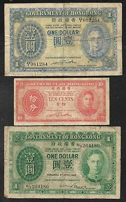 Hong Kong - 3 Old Notes - 1 Dollar/10 Cents/1 Dollar - 1940's - VG to FINE