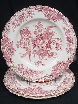 """Crown Ducal Bristol Pink   Made in England, c.1930-40s   (3) 7 7/8"""" Salad Plates"""