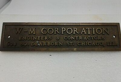 Vintage Brass W-M Corporation , Chicago, ILL, Name Plate