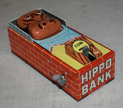 Vintage Yone Mechanical Tin Hippo Bank - Very Good Condition - Working