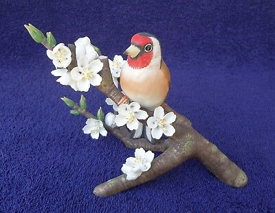 EUROPEAN GOLDFINCH BIRD ON BRANCH W/  BLOSSOMS Porcelain By RSPB Ltd. Ed.