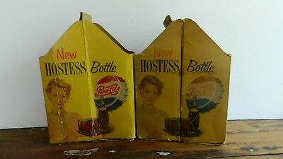 "Two Vintage Rare Hostess Pepsi-Cola Cardboard Carton Carriers ""as Is"" Condition"