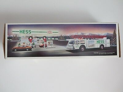 1989 HESS TOY FIRE TRUCK - NEW IN BOX - White with Red Ladder