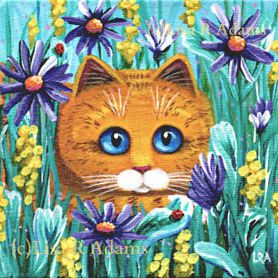 Ginger Orange Yellow Tabby Cat Canvas Print of Painting Art Creationarts Asters