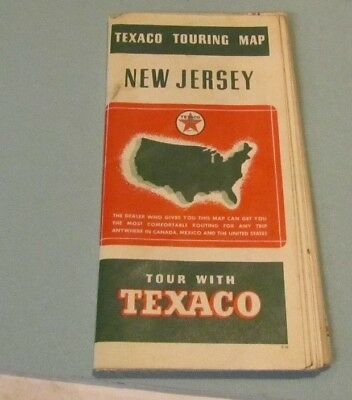 1939 Texaco Gasoline and Oil Company New Jersey Road Map Vintage Travel Souvenir