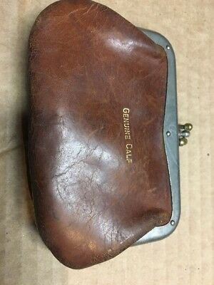 Vintage Small Coin / Change Purse Genuine Calf Leather Brown OLD