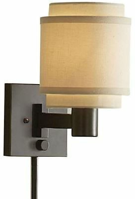 Swing Arm Lamp Wall Mount Bedroom Light Accent Sconce Layered Fabric Cream Shade