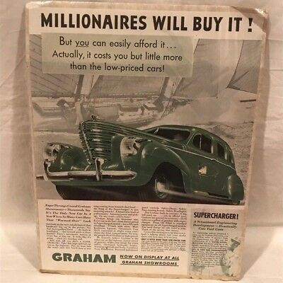"Vintage 1938 Graham Millionaires Will Buy It Ad - Supercharger - 10"" x 13"""