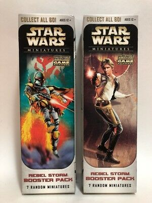 2x WIZARDS OF THE COAST Star Wars Rebel Storm Booster Pack (7 Miniatures ea) NEW