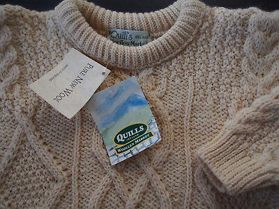 Vtg NWT QUILL IRELAND WOOLLEN MARKET Wool Cable Fisherman Ivory Sweater Child 6