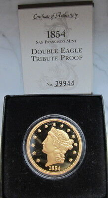 1854-S  $20 Double Eagle TRIBUTE PROOF Coin with COA