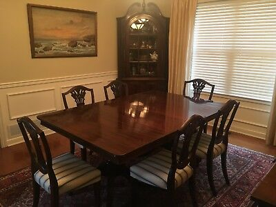 Antique Federal Hepplewhite Style Mahogany Dining Room Table & Chairs
