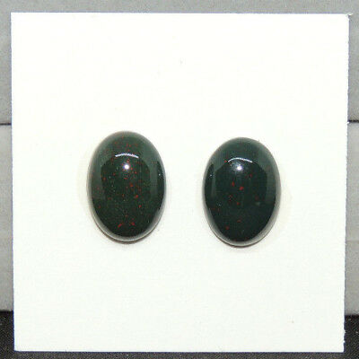 Bloodstone Cabochon 10x14mm with 5mm dome from India set of 2 (13813)