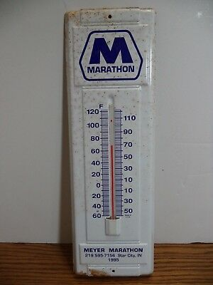 "1995 Meyer Marathon Oil Advertising Thermometer Star City Indiana 14"" Works"