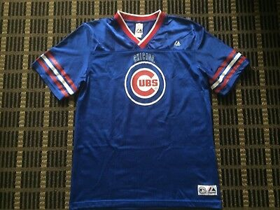 a5b2ee41825 Majestic VTG CHICAGO CUBS Men s MLB Football Style Jersey Youth Boys Sz XL  18-20