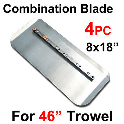 "4pc 8x18"" Trowel Comb Combination Steel Blade, For 46"" Power Concrete Machine"