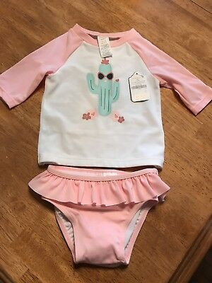 Gymboree New 12-18 M Baby Girl Swim Set  Long Sleeves