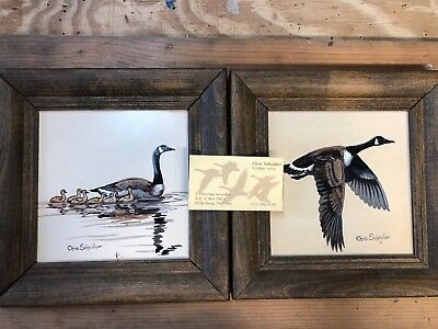 Hand Painted Geese On Tile (set of 2)
