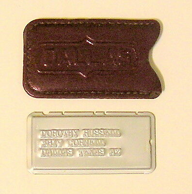 Very Early Charga-Plate Metal Credit Card and Leather Holder Dallas Texas