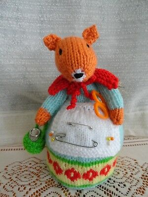 Hand Knitted Orange Squirrel Pin Cushion With Pins , Thimble & Sissors