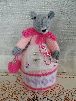 Hand Knitted Grey Squirrel Pin Cushion With Pins , Thimble & Sissors