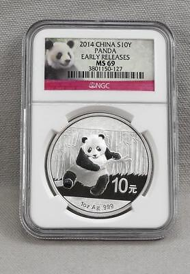 China 2014 One Ounce .999 Silver Panda 10 Yuan NGC MS69 EARLY RELEASES!